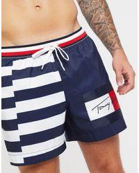 Tommy Hilfiger Темно-синие Шорты Для Плавания С Полосками И Логотипом -темно-синий