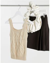 ASOS Co-ord Knitted Cable Vest - Natural