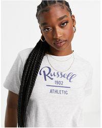Russell Athletic – kurz geschnittenes t-shirt - Weiß