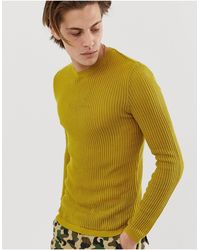 ASOS Knitted Muscle Fit Sheer Mesh Jumper - Yellow