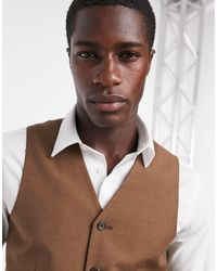ASOS Slim Suit Waistcoat - Brown