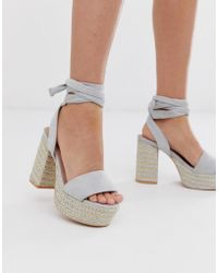 Lost Ink Bali Tie Leg Heeled Platform Sandals - Grey