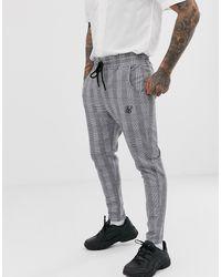 SIKSILK Pantalones cortos de corte slim a cuadros príncipe de Gales en gris