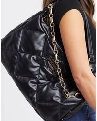 River Island Quilted Shoulder Bag With Chain Strap - Black