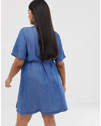 Simply Be Wrap Denim Dress With Scallop Trim - Blue