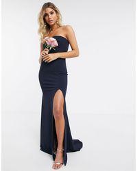 Missguided Bridesmaid Bandeau Dress - Blue