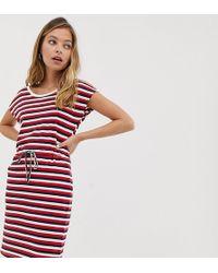 Vero Moda - Stripe Jersey Dress With Tie Waist - Lyst