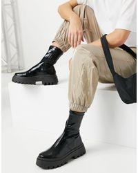 ASOS Ace - Stivali a calza neri con suola spessa - Multicolore