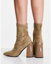 NA-KD Бежевые Ботинки На Блочном Каблуке С Узким Голенищем -светло-бежевый Цвет - Естественный
