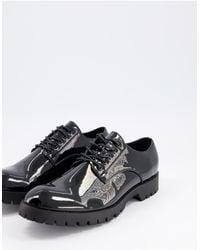 Truffle Collection Minimal Lace Up Shoe - Black