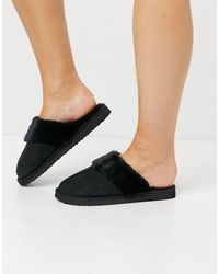 Miss Selfridge Mule Slippers - Black
