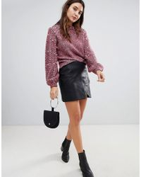 c54dcead79f08a Muubaa Azka Fitted Leather Skirt in Black - Lyst