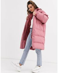 Missguided Longline Padded Coat With Jersey Hood - Pink