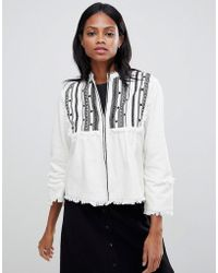 Whistles - Embroidered Jacket With Raw Trim - Lyst