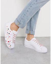 adidas Originals Heart Print Superstar Sneaker - White