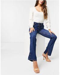 Stradivarius Straight Leg Jeans With Split Hem - Blue