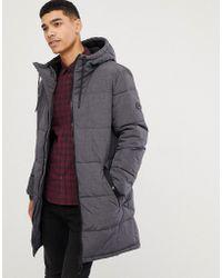 Esprit Puffer Coat In Grey Melange With Hood - Gray