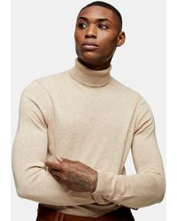 TOPMAN Knitted Roll-neck Jumper - Natural