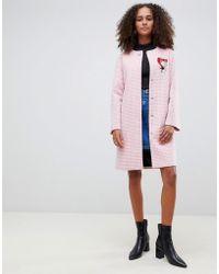 Love Moschino - Cappotto in misto lana a quadretti con bottoni a contrasto - Lyst