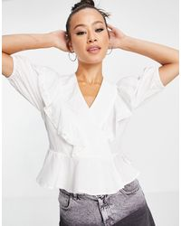 Object Textured Wrap Top With Ruffle Detail - White