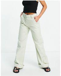 Bershka Wide Leg Chino - Green