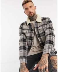 Only & Sons Check Trucker Jacket With Borg Lining - Natural