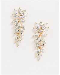 True Decadence Exclusive Rhinestone Leaf Drop Earrings - Metallic