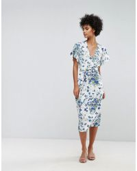 Warehouse - Full Bloom Wrap Dress - Lyst