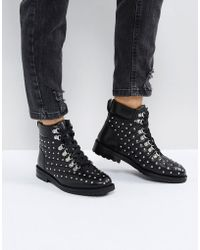 ASOS - Atty Leather Hardware Flat Boots - Lyst