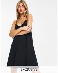Collusion – Kurzes Camisole-Kleid aus Bio-Baumwolle - Schwarz