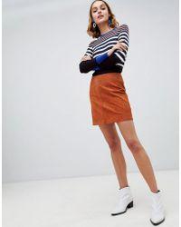 Warehouse - Suede Pelmet Skirt In Tan - Lyst