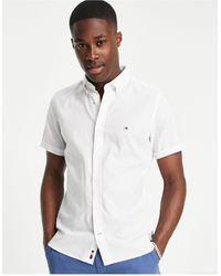 Tommy Hilfiger - Оксфордская Приталенная Рубашка Белого Цвета С Короткими Рукавами И Логотипом -белый - Lyst