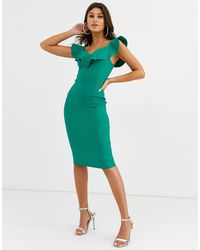Vesper Bodycon Dress With Sweetheart Neckline With Frill - Green
