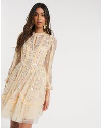Needle & Thread Mini Dress With Rose Embroidery - Yellow