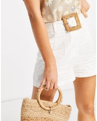 Forever New Tailored Boxy Shorts With Wicker Belt - White