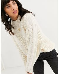 ASOS Premium Oversized Cable Sweater - Natural