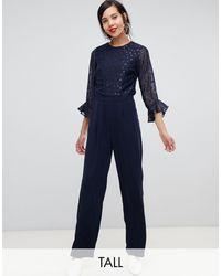 Y.A.S Sheer Dot Jumpsuit - Blue
