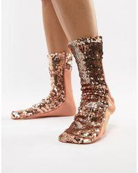 ASOS - Rose Gold Sequin Sock - Lyst