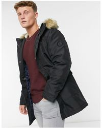 Only & Sons Parka With Borg Lined Hood And Removable Faux Fur Trim - Black