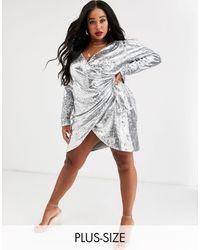 Skylar Rose Plus Wrap Front Mini Dress - Metallic
