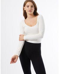 Miss Selfridge Long Sleeve Scoop Neck Bodysuit - Multicolour