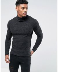 SIKSILK - Jumper In Black With Roll Neck - Lyst