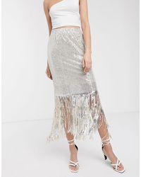 Soaked In Luxury Sequin Fringe Midi Skirt - Multicolour
