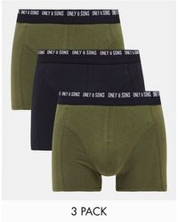 Only & Sons 3 Pack Trunks - Green