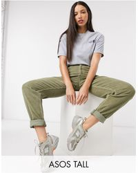 ASOS Asos Design Tall High Rise 'slouchy' Mom Jeans - Green
