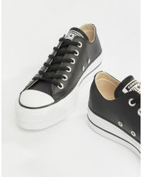266e008d21ae6f Converse - Chuck Taylor All Star Leather Platform Low Trainers In Black -  Lyst