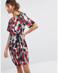 Closet - Wardrobe Cap Sleeve Dress With Wrap Skirt And Pleat Detail - Lyst