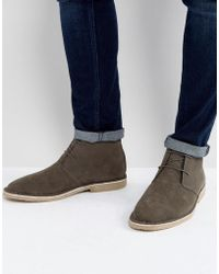 ASOS - Asos Desert Boots In Gray Faux Suede - Lyst