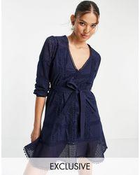 White Sand Cotton Lace Trim Mini Dress - Blue