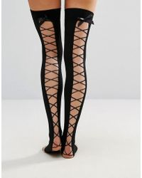Ann Summers Lace Up Over The Knee - Black